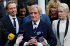 British actor William Roache talks to the press after being found not guilty in his trial for sexual offences. Photo / AP