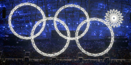 One of the the Olympic Rings fails to open. Photo / AP