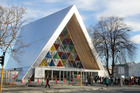 The transitional 'Cardboard' Cathedral on the corner of Madras and Hereford Streets in Christchurch.