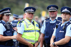 Police staff at Waitangi included, from left, area commander Inspector Wendy Robilliard, Inspector Peiter Gibson and Northland Police district commander Inspector Russell le Prou. Photo / John Stone