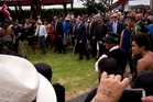 John Key is formally welcomed on to Te Tii Marae during Waitangi celebrations this week. Photo / Dean Purcell