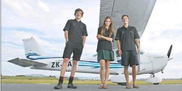 FLYING HIGH:Tauranga teens Sevi Rust (left), Erin Carter and Isaac O'Kell will be vying for national honours this month.