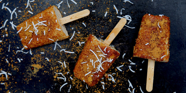 Toffee coated banana and coconut cream popsicles. Photo / Eleanor Ozich