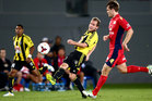 Jeremy Brockie of Wellington shoots at goal during the round 17 A-League match against Adelaide United at Eden Park. Photo / Getty Images