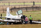 The scene of the top dressing plane accident at Otane in Central Hawkes Bay today. Photo / Paul Taylor
