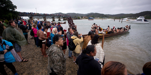 The waka crews take part in the celebrations on a wet and cold Waitangi Day. Photo / Dean Purcell
