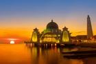 The Melaka Straits Mosque on man-made Melaka Island. Photo / Getty Images