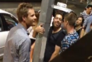 A screengrab shows Jesse Ryder, centre, during a night out at Britomart last month. Photo / 3News
