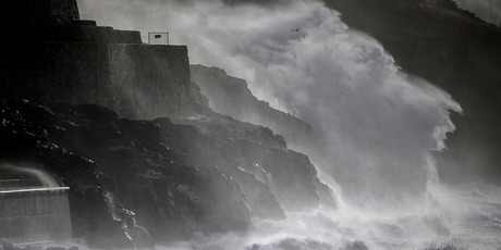 Storm waves break at Porthleven in Cornwall, England. Photo / Getty Images