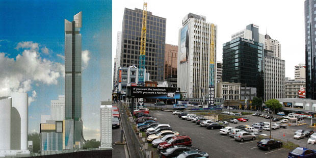 The 52-level tower, left, is due to go up on this CBD site, left vacant since the 1980s.