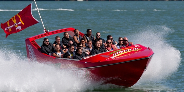 Gold Coast Titans got a taste of extreme jet boating. Photo / Greg Bowker