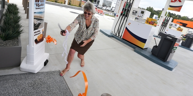 Whangarei Mayor Sheryl Mai opens the new service station in Porowini Ave this week. Photo Micheal Cunningham