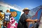 Kawerau artist Jason Helens hard at work during the Kawerau Street Legal Festival yesterday. Photo/Lani Hepi