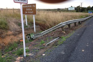 As the lanes merged into one the truck crashed into a concrete barrier. Photo / NZ Police