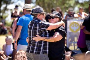 Claire Southern (L) with her partner Kerrie Vasey at The Big Gay Out held at Coyle Park. Photo / Dean Purcell
