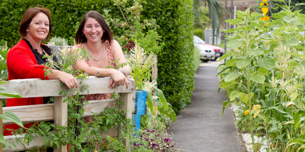 Anya Thomas (left) and Tash Geelen have produced an edible garden. Photo / Richard Robinson
