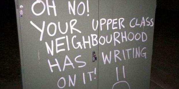 Sarcastic graffiti. (Source: String Theory @STRollocaust on Twitter)
