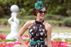 TV personality Shannon Ryan models at Ellerslie Racecourse Auckland. Photo / Doug Sherring