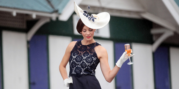 TV personality Shannon Ryan models at Ellerslie Racecourse. Photo / Doug Sherring