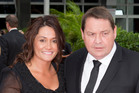 All Black coach Steve Hansen with his wife Tash arrive at the 51st Westpac Halberg Awards. Photo / Greg Bowker