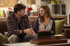 Ashton Kutcher and Amber Tamblyn in a scene from Two and a Half Men.