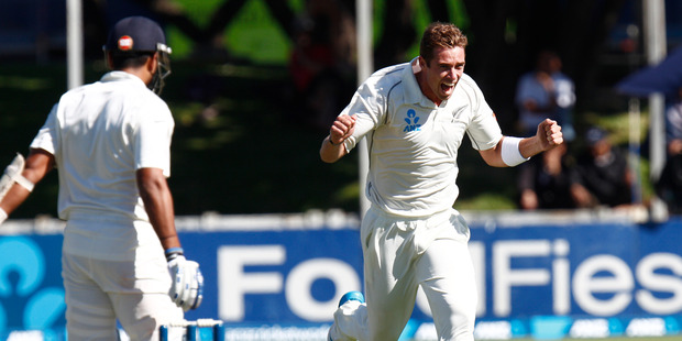 New Zealand bowler Tim Southee jubilant after capturing the wicket of Indian opener Murali Vijay during day one of the second ANZ cricket test against India. Photo / Mark Mitchell.