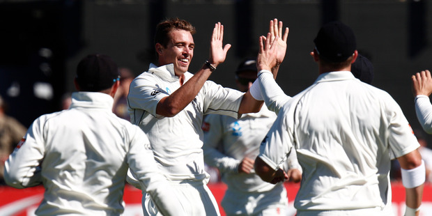 New Zealand bowler Tim Southee jubilant after capturing the wicket of Indian opener Murali Vijay during day one of the second ANZ cricket test. Photo / Mark Mitchell.