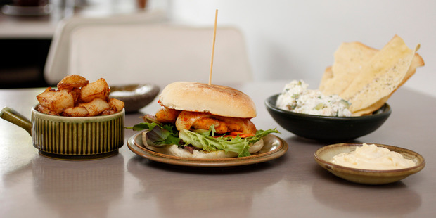 The smoked fish rillette and vege burger at Monterey. Photo / Chris Gorman