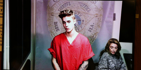 Justin Bieber appears in court via video feed in Miami. Photo / AP