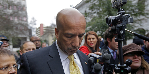Former New Orleans Mayor Ray Nagin leaves federal court with his wife Seletha, left, after his conviction in New Orleans. Photo / AP