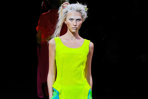 Neon brights from Yohji Yamamoto's spring/summer 2014 collection. Photo / AP.