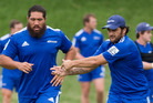 The Blues Charlie Faumuina and Piri Weepu during team training last month. Photo / Greg Bowker