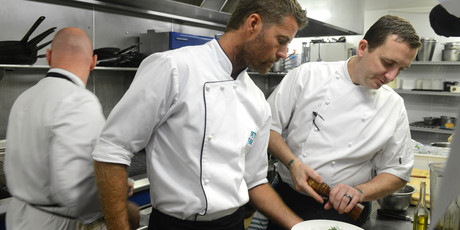 Pete Evans and Gavin Baker in the kitchen at Kauri Cliffs resort. Photo / Grant Triplow.