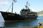 A Sea Shepherd protest ship involved in a recent clash with the Japanese whaling fleet has arrived in Dunedin to refuel.
