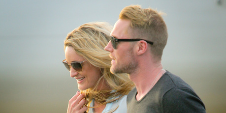 Ronan Keating and his girlfriend Storm Uechtritz arrive at Hawkes Bay airport, Napier. Photo / Warren Buckland