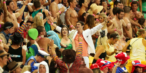 Fans party during the Wellington Sevens, but one choice of costume has sparked safety fears for Jetstar. Photo / Getty Images