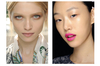 A shell-pink lip look at Etro and a fuchsia lip at J. JS Lee. Pictures / M.A.C.