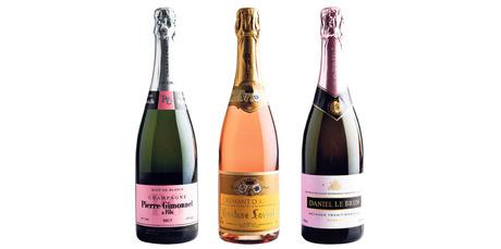 Champagne Pierre Gimonnet Brut 1er Cru Rose de Blancs NV; Gustav Lorentz Cremant d'Alsace Rose NV; Daniel le Brun Methode Traditionelle Rose NV.