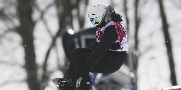 Sinclair competes in the women's snowboard halfpipe qualifying at the Rosa Khutor Extreme Park. Photo / AP