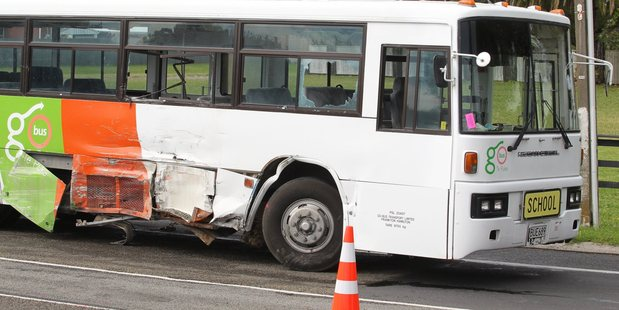 Traffic has been diverted around a crash involving a truck and a bus near Te Puke. Photo by John Borren
