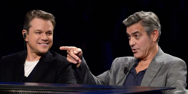 Actors Matt Damon (left) with George Clooney who has been criticised for his stance on the Greek sculptures.   Photo / AP