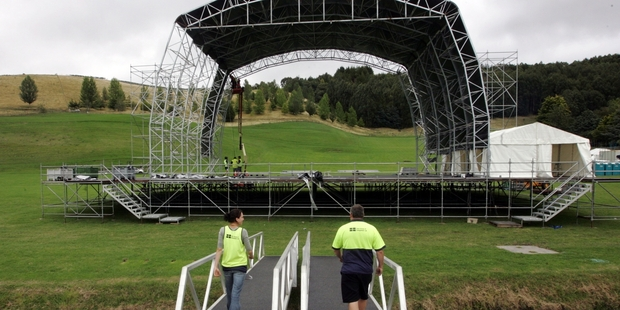 Construction crews have been battling temperamental weather to set up the Mission Concert stage. Photo/Paul Taylor