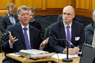 Hawke's Bay District Health Board Chief executive Dr Kevin Snee (left), chief medical officer Dr Mark Peterson and board chairman Kevin Atkinson at yesterday's Health Select Committee meeting at Parliament.