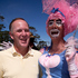Prime Minister John Key with Daphine Bush during his visit to the Big Gay Out held at Coyle Park. Photo / Dean Purcell