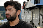 Captain Siddarth Chakravarty, on a Dunedin wharf, talks about the efforts of Steve Irwin in the Southern Ocean. Photo / Peter McIntosh