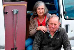 English couple Chris and Jenny Burrows with their camper van. Photo / Craig Baxter
