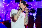 Eminem performs to 55,000 fans at Western Springs in Auckland.