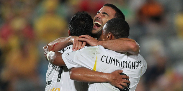Manny Muscat celebrates with Wellington's Costa Rican connection during their 4-1 win over Central Coast. Photo /Getty