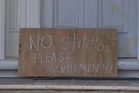 Helen spotted this sign propped up against the front door of what was obviously a renovation on Richmond Rd, Ponsonby.