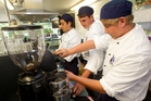 Sacred Heart College hospitality students perfecting their barista skills are (from left) Daniel Club, Josh Kelly and Taylor Bush, all aged 17. Photo / Richard Robinson